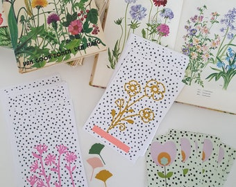2 dots and wild flowers post cards, spting, botanical postcards, floral cards, snailmail postcards, postcrosser