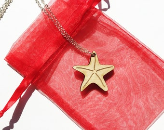 Wood starfish necklace ~ Laser cut and engraved from birch wood, starfish gift, starfish pendant necklace