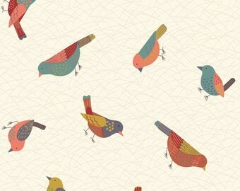 Hedgerow Birds On Cream  A253.1 - THE HEDGEROW - Lewis and Irene - By the Yard