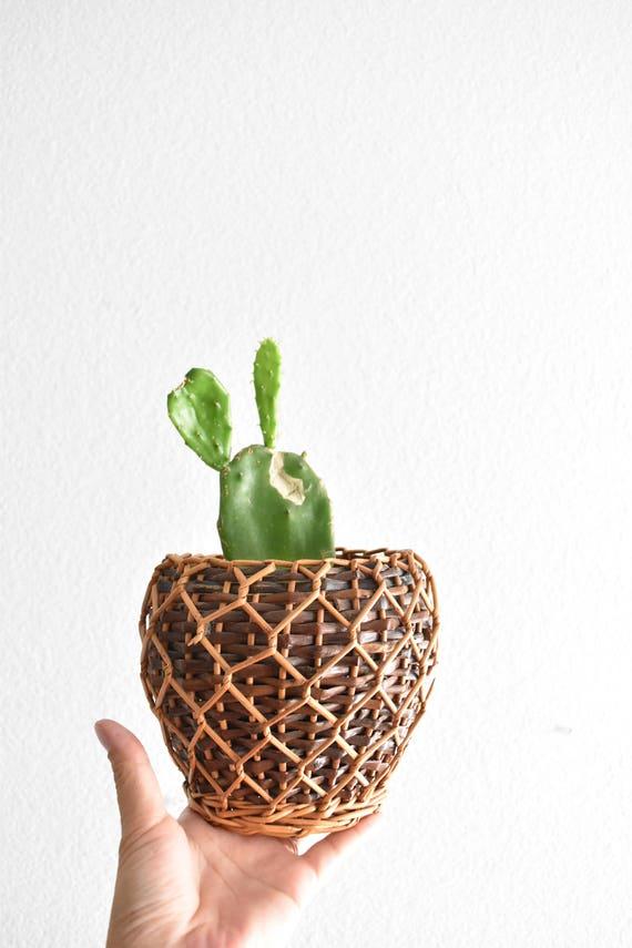 small 2 tone colored hand woven wicker basket planter