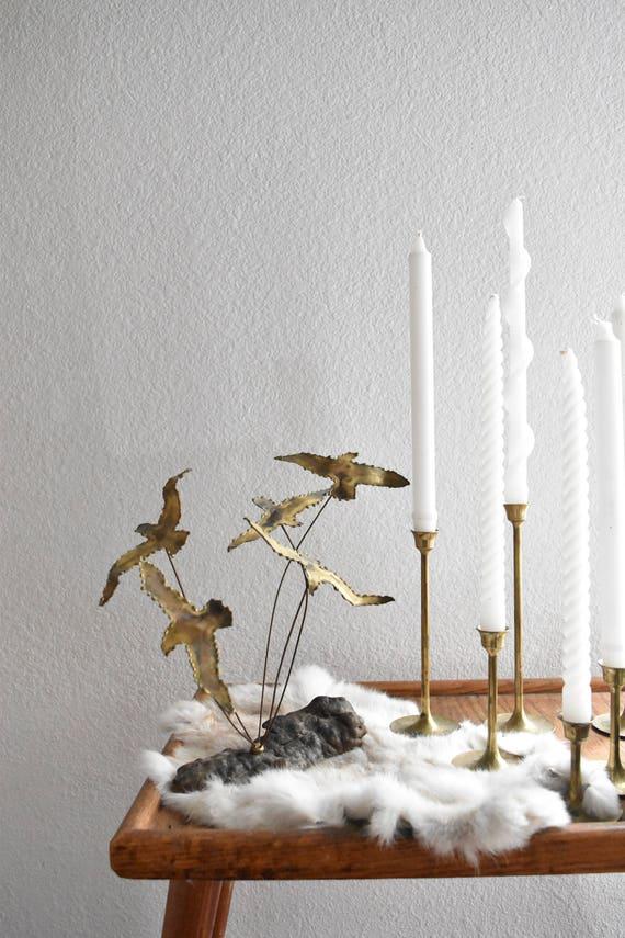 mid century copper brass flying seagulls bird wire sculpture