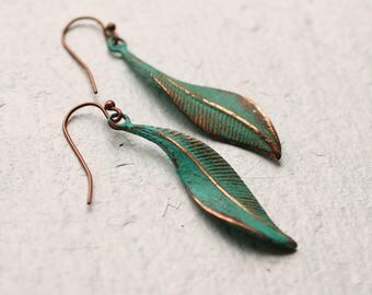 Green Leaf Earrings ... Boho Turquoise Lily Pad Long Earrings