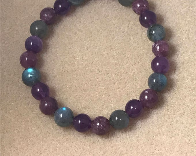 Insomnia Amethyst Lepidolite Labradorite Bracelet, Bead Bracelet, Beaded Bracelet, Stretch Bracelet, 8mm Bracelet, Healing Bracelets