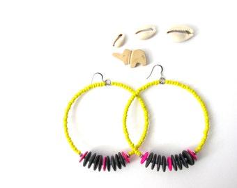 "Ankara Print Inspired Large Beaded Hoops ""Celia"" | Afrochic Resort Bohemian Colorblock Boho Caribbean |"