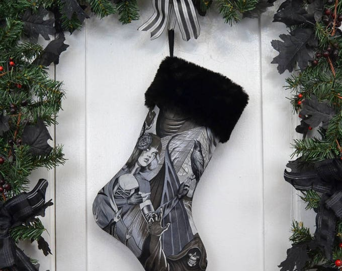 Gothic Sorceress Halloween Christmas Stocking, Goth Punk, Horror, Black and White, Black Faux Fur, Halloween Decoration, Heart of Darkness