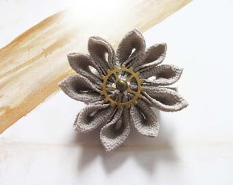 Pince à cheveux Fleur Kanzashi Tsumami steampunk taupe