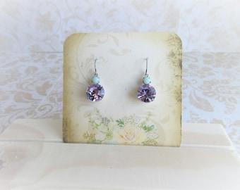 Light Purple Earrings, Purple Rhinestone Earrings, Violet Crystal Earrings, Drop Earrings, Purple Glass Earrings, Clip On Earrings Available