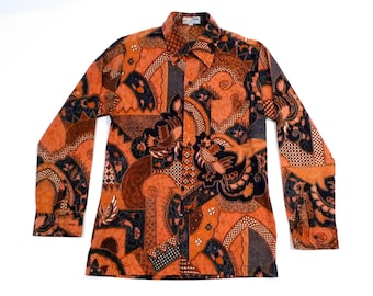Batik Shirt Indonesia Vintage Keris Mens Medium Phoenix Sacred Bird Print Shirt Long Sleeve Psychedelic Tribal batik 1990s Plattermatter
