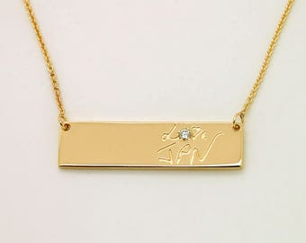 Bar Necklace - Solid 14K gold jewelry - Custom Gold Bar Necklace - Custom Name