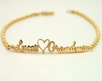 Grandma Gift, Custom Gold Bracelet, New Grandma Bracelet 14K, Grandmother Gift, Personalized Gift For Grandma Personalized Gift For Women
