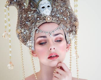 Silver and Gold 'The Queens Fool' Lace Jester Venetian Mask Couture Headdress