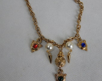 Original Vintage 1970s Chunky Charm Necklace