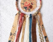 Floral Small Dream Catcher, Pretty Bedroom Decor, Fall Colors, Caramel Brown, Teal, & Dusty Pink, Autumn Roses