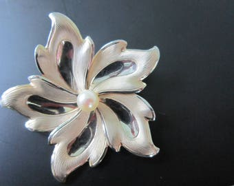 12 K GF Genuine Pearl  Flower Brooch and Earrings  -Hallmarked 1/20 12K G.F. Excellent Condition