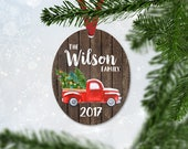 Personalized Red Christmas Truck Ornament with Last Name & Year, Christmas 2017, Keepsake Wedding Gift, Faux Wood and Truck Ornament (038)