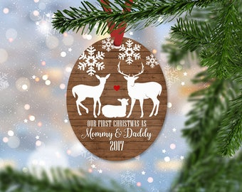 Personalized First Christmas as Mommy and Daddy Ornament, Keepsake Ornament, Family's 1st Christmas, Faux Wood, Christmas Gift (026)