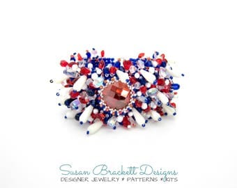 Beaded Bracelet Kit & Tutorial by Susan Brackett, DIY Beading Chart Instructions Easy Pattern, Square Weave, Red White Blue, Peyote Stitch