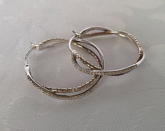 Sterling Silver Loop Earrings, Sterling Loop Earrings, Sterling Silver Earrings