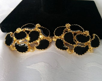 Vintage Shoe Clips Black and Gold, Vintage Black and Gold Shoe Clips, Shoe Clips