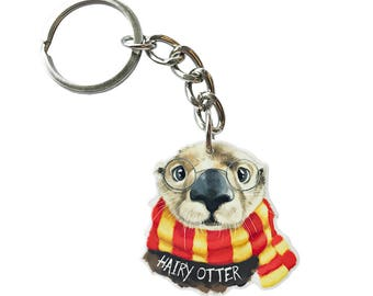 Hairy Otter keychain - Otter baby - Otter Birthday - Cute Otter - Harry Potter Inspired - Harry Potter gifts - Otter Pendant - Otter Charm