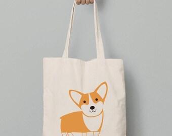 Corgi tote bag, Corgi canvas tote bag, corgi accessories, gift for her
