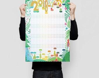 2018 Wall Planner, A2 Planner, Large Wall Calendar, Modern Wall Planner, Illustrated Wall Planner
