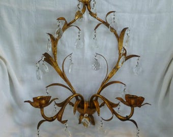 Italian Tole Candle Sconce. Hanging Crystals Prisms. Vintage 1950s 1960s. Made in Italy. Gold Gilt Leaves. Wall Candle Holder.