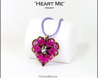 Bead pattern beaded heart Heart pendant made with Swarovski, Superduos, seed beasd and fire polished beads
