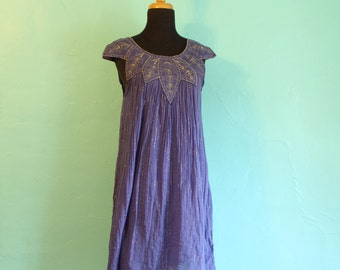 Super Cute Vintage 1970's Purple and Gold Cheesecloth Festival Short Sundress - Size US 6 UK 12
