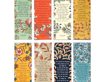 Floral Hymn Bookmarks set of 8 - Come Thou Fount, Be Thou My Vision, Abide With Me, best friend gift bookmark favor christian gift for her