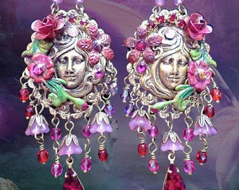 Bright Red & Pink Whimsical Flower Goddess Chandelier Earrings, Ornate Hand-Painted Floral, Gemini Twins, Victorian Cameo Earrings, Purples