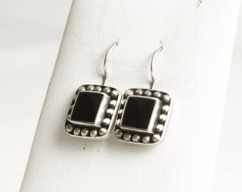 Sterling Silver Black Onyx Earrings, Vintage Silver Jewelry, Square Earrings, Silver Earrings, Black Tribal Jewelry, Gift for Her (V6863)