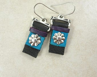 Black and Turquoise Leather Earrings - Turquoise, Purple and Black Leather Earrings, Black and Silver Earrings, Black Leather Earrings