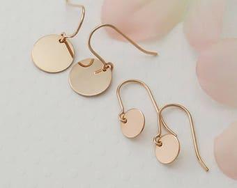 Gift ROSE GOLD Earrings Disc Earrings Disk Gifts for Her Tiny Coin Earrings Best Friend Gift, Sister Gift Shiny Stocking Stuffer Earrings