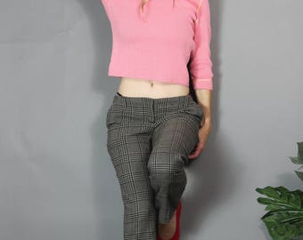 Vintage Knit Top Jeanne Pierre Coral Pink Ribbed 80s 90s French New Wave Shirt