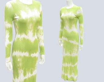 90s Céline Chartreuse Tie-Dye Sheath Size 38