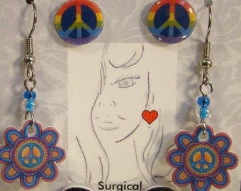 Peace Sign Earrings Gift Set - Colorful Stud earrings - Rainbow Jewelry - symbology jewellery