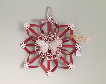 """Red Winter Wreath Alternative 12"""" with White Butterfly"""