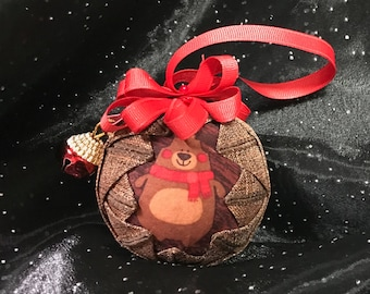 """3"""" Handcrafted Quilted Ornament with Ribbons and Charms"""