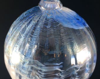 Swirled Blue Hand Blown Glass Ornament