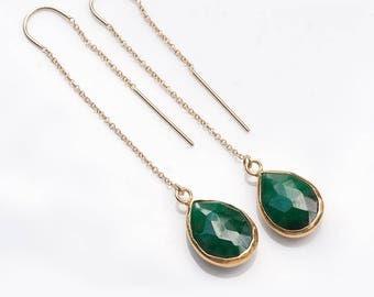 Gemstone Threader Earrings - Emerald Dangle Earrings - Gold Ear Thread Earrings - Ear Threader Earrings - Minimal Jewelry