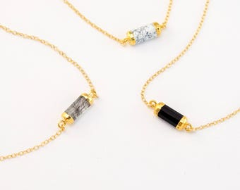 Gemstone Tube Choker, Geometric Necklace, Minimalist Stone Necklace, Simple Layering Necklace, Gift for Friend, 14k Gold Filled, Modern
