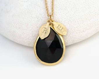 Black Onyx Necklace, Custom Initial Necklace, Tear Drop Gemstone Pendant, Gold Framed Stone, Gift for Wife, Initial Charm Jewelry, Xmas Gift