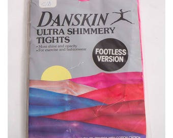 Vintage Danskin tights / 1980s Ultra shimmery neon pink footless tights / New in package / Deadstock M L