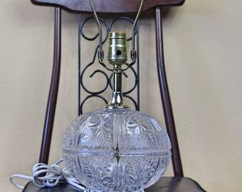 Vintage Clear Glass Oval Lamp with Flower Pattern No Lamp Shade