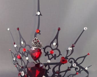 Ultimate Gothique Hearts - Gothic Tiara Queen of Hearts Crown Queen of Hearts Tiara Queen of Hearts Cosplay Filigree Crown Halloween Costume
