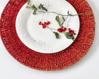 vintage woven chargers, red wicker charger plates set/5