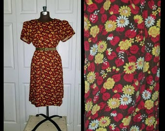 Palisades Park ... Vintage 50s 60s day dress / midi a line puff sleeve / floral daisy flowers roses / red yellow  .... L XL / bust 42