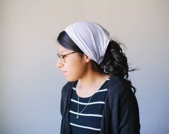 Classic White Short Stretch Knit Headcovering | Christian Woman's Headcovering Veil