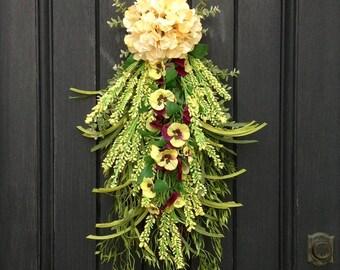 Spring Wreath-Summer Wreath-Teardrop Vertical Door Swag Decor-Artificial Floral Swag-Yellow Hydrangea-Yellow, Purple-Indoor/Outdoor Decor